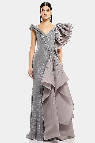 Grey Embroidered Bodycon Gown by Gaurav Gupta