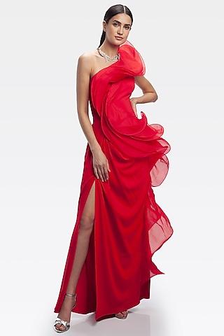 Red One Shoulder Ruffled Gown by Gaurav Gupta