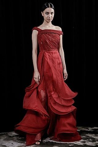 Red Ruffled Evening Gown  by Gaurav Gupta