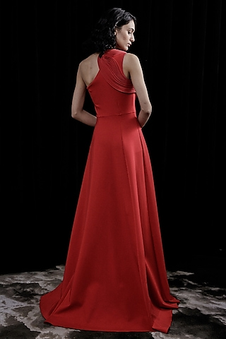 Flaming Red Fit & Flare Gown by Gaurav Gupta