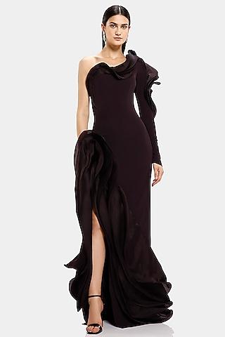 Aubergine One Shoulder Ruffled Gown by Gaurav Gupta