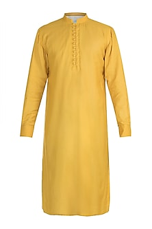 Yellow Cotton Silk Kurta by Gaurav Katta