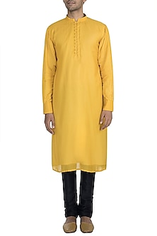 Yellow Cotton Silk Kurta by Gaurav Katta
