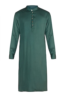 Dark Green Kurta With Meenakari Buttons by Gaurav Katta