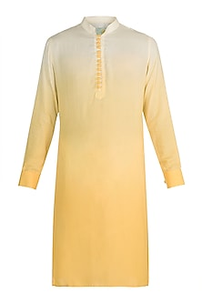 Yellow Ombre Kurta by Gaurav Katta