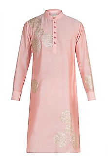 Pink Rose Embroidered Kurta by Gaurav Katta
