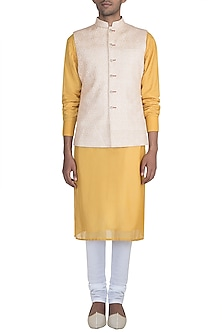 White Kantha Worked Nehru Jacket by Gaurav Katta