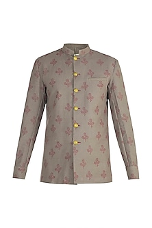 Grey Block Printed Bush Coat Jacket by Gaurav Katta