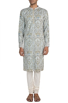 Sky Blue Block Printed Kurta With Meenakari Buttons by Gaurav Katta