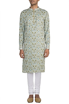 Blue Block Printed Kurta With Meenakari Buttons by Gaurav Katta