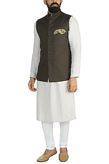 Brown Embroidered Nehru Jacket by Gaurav Katta