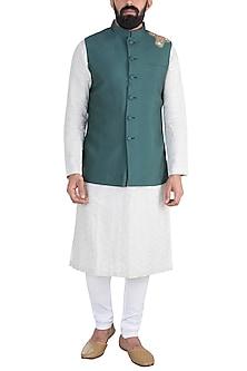 Cobalt Blue Embroidered Nehru Jacket by Gaurav Katta
