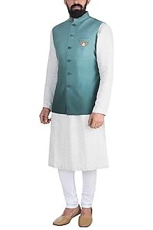 Sky Blue Embroidered Nehru Jacket by Gaurav Katta
