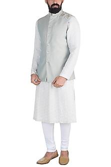 Grey Embroidered Nehru Jacket by Gaurav Katta