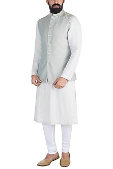 Grey Embroidered Nehru Jacket by Gaurav Katta