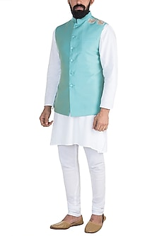 Mint Green Embroidered Nehru Jacket by Gaurav Katta