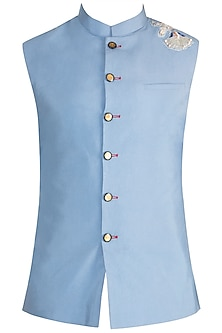 Sky Blue Zardosi Embroidered Nehru Jacket by Gaurav Katta