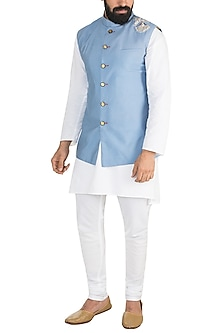 Sky Blue Zardosi Embroidered Nehru Jacket by Gaurav Katta
