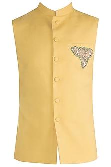 Mustard Embroidered Nehru Jacket by Gaurav Katta