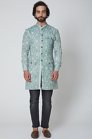 Mint Green Printed Bandhgala Jacket by Gaurav Katta