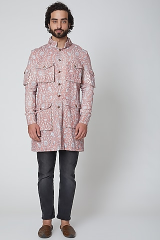 Peach Printed Bandhgala Jacket by Gaurav Katta