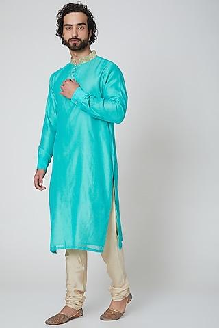 Turquoise Chanderi Kurta by Gaurav Katta