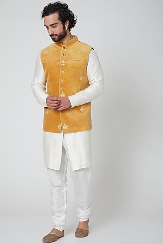 Copper Embroidered Nehru Jacket by Gaurav Katta