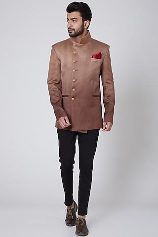 Copper Italian Cotton Bandhgala Jacket by Gaurav Katta