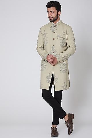 Nude Printed Bandhgala Jacket by Gaurav Katta