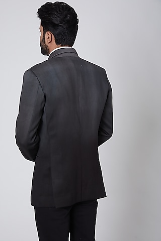 Black Italian Cotton Blazer by Gaurav Katta