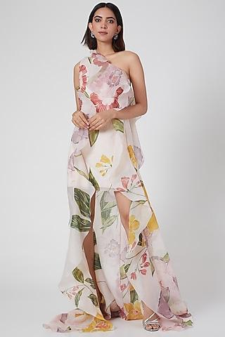 Blush Pink Floral Printed One Shoulder Dress by Gauri and Nainika