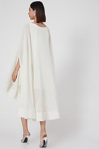 White Mini Cape Trapeze Dress by Gauri and Nainika