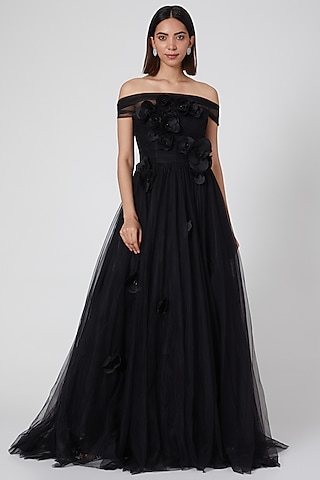 Black Draped Corset Gown With 3D Details by Gauri and Nainika