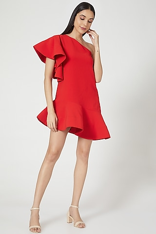 Red Micro Crepe One-Shoulder Mini Dress by Gauri And Nainika