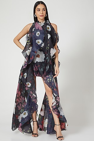 Black Floral Mini Dress With Frills by Gauri And Nainika