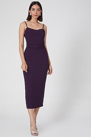 Purple Micro Crepe Pencil Dress by Gauri and Nainika