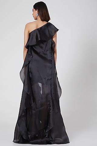 Black One Shoulder Shift Dress by Gauri and Nainika