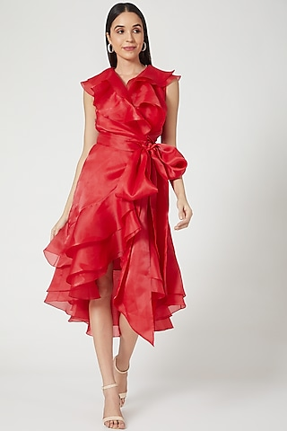 Red Wrap Dress With Frills by Gauri And Nainika
