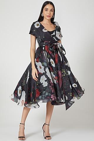 Black Floral Printed Dress by Gauri And Nainika