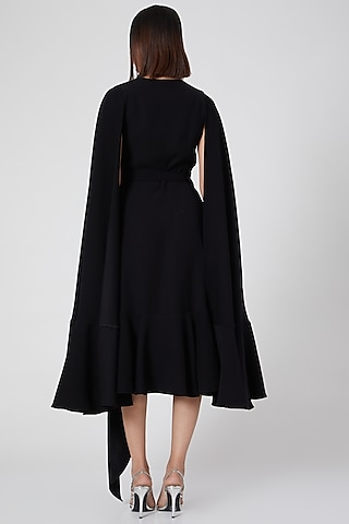 Black Wrap Dress With Cape Sleeves by Gauri and Nainika