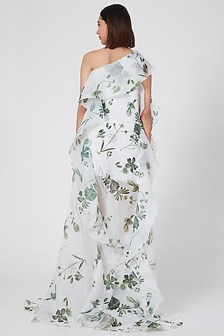 White One Shoulder Shift Dress by Gauri and Nainika