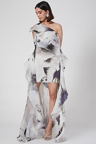 White Cascading Ruffled One Shoulder Shift Dress by Gauri and Nainika