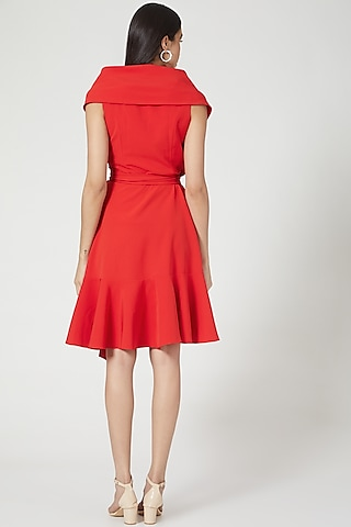 Red Micro Crepe Wrap Dress by Gauri And Nainika