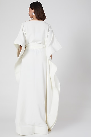 White Micro Crepe Kaftan Dress by Gauri and Nainika