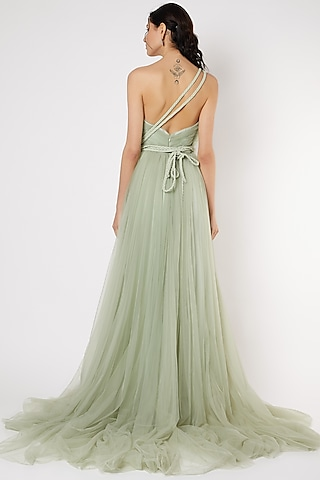Mint Green Gown With Braided Strings by Gauri And Nainika