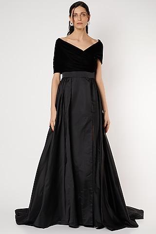 Black Duchess Satin Gown by Gauri And Nainika