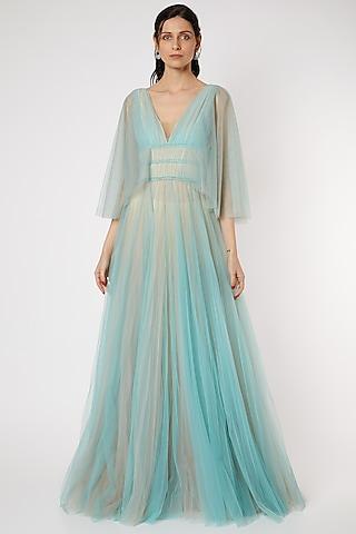 Turquoise Dual Tone Sheer Gown by Gauri And Nainika
