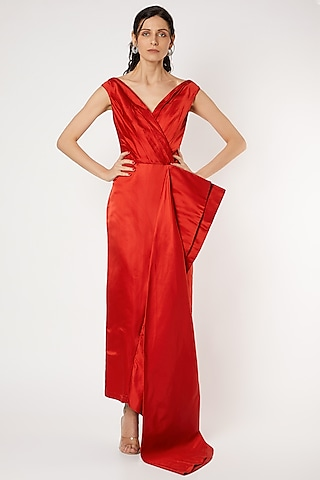 Red Sculpted Gown by Gauri And Nainika
