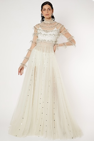 White Embroidered Gown by Gauri And Nainika