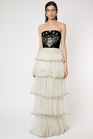 White Net Embroidered Gown by Gauri And Nainika